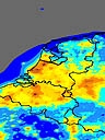 light pollution map of the Netherlands, Belgium and Luxemburg