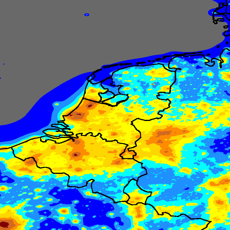 Light Pollution map of the Netherlands Belgium and Luxembourg the